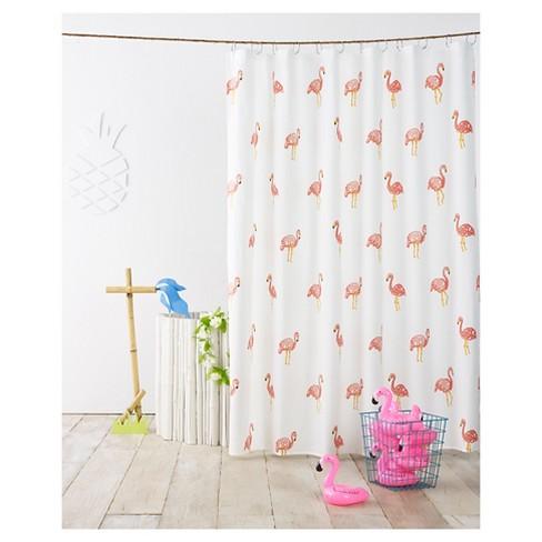 Flamingo Shower Curtain Ivory - Pillowfort™ - image 1 of 2