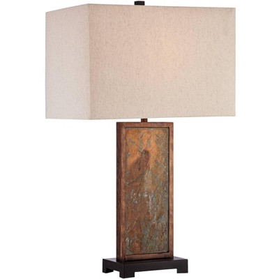 Franklin Iron Works Modern Table Lamp Natural Slate Stone White Rectangular Shade for Living Room Family Bedroom Nightstand