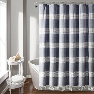 Tucker Stripe Yarn Dyed Cotton Knotted Tassel Shower Curtain Navy/White - Lush Décor