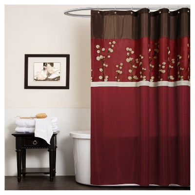Cocoa Flower Shower Curtain Red - Lush Decor®