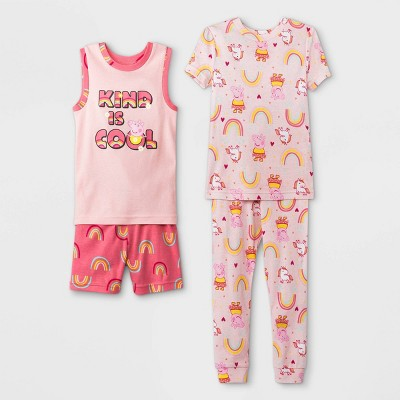 Toddler Girls' 4pc Peppa Pig Pajama Set - Pink