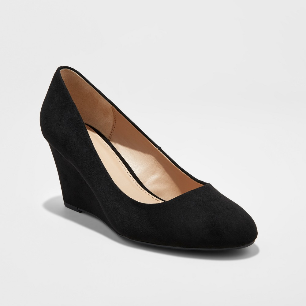 Women's Dot Round Toe Wedge Pumps - A New Day Black 11