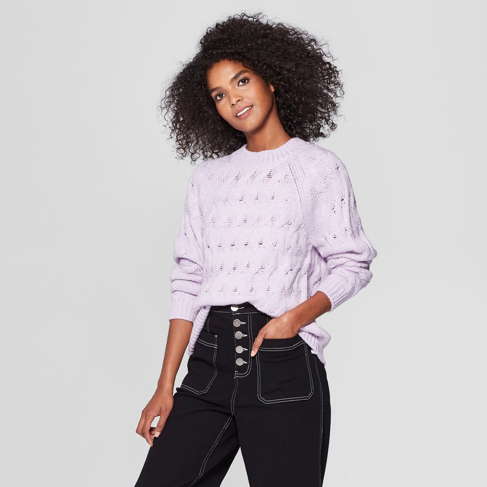 Women's Long Sleeve Crew Neck Cable Sweater - Who What Wear Light Purple M