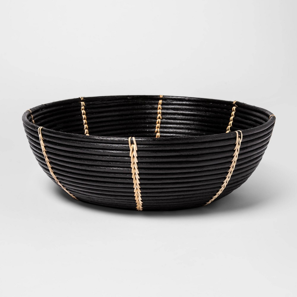 "Image of ""14.9"""" x 4.7"""" Decorative Rattan Bowl Black - Project 62"""