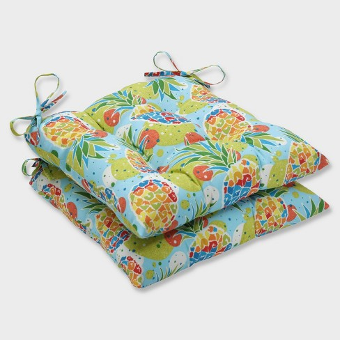 2pk Hala Kahiki Tropic Blue Wrought Iron Outdoor Seat Cushions Blue - Pillow Perfect - image 1 of 1