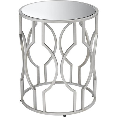 "55 Downing Street Fara 20"" Wide Silver and Mirrored Top Round End Table"
