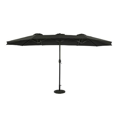 15' x 9' Eclipse Dual Market Patio Umbrella Black - Island Umbrella