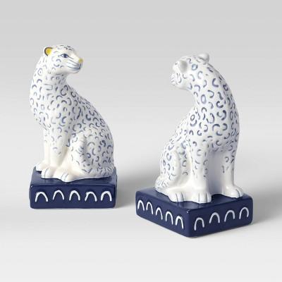 """7.5"""" x 4"""" Decorative Leopard Bookend Set White/Blue - Opalhouse™"""
