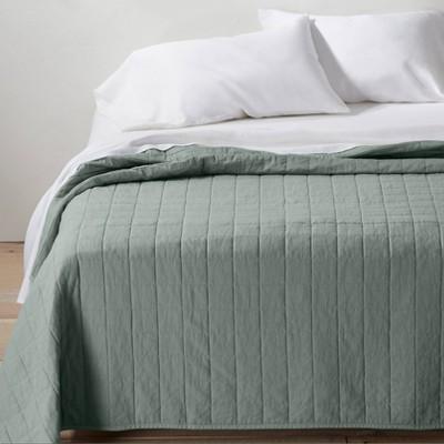 Full/Queen Heavyweight Linen Blend Quilt Sage Green - Casaluna™