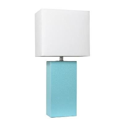 "21"" Monaco Avenue Modern Leather Table Lamp Aqua - Elegant Designs"