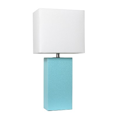 Genial Modern Leather Table Lamp Aqua (Lamp Only)   Elegant Designs