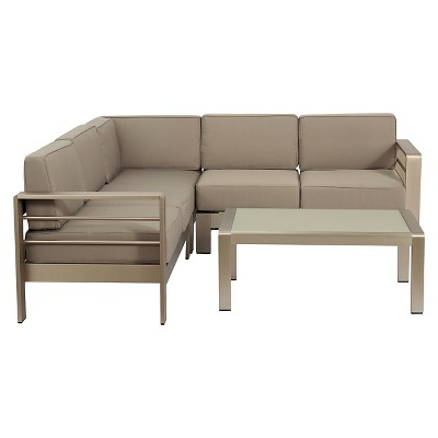 Cape Coral 4pc Aluminum Sofa Set With Cushions   Khaki   Christopher Knight  Home