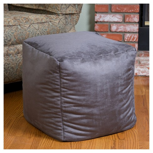 Christopher Knight Home Whitney Faux Suede Beanbag Cube Ottoman Pouf In Purple