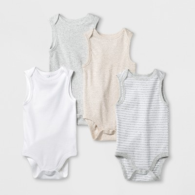 Baby 4pk Sleeveless Tank Bodysuit - Cloud Island™ White Newborn