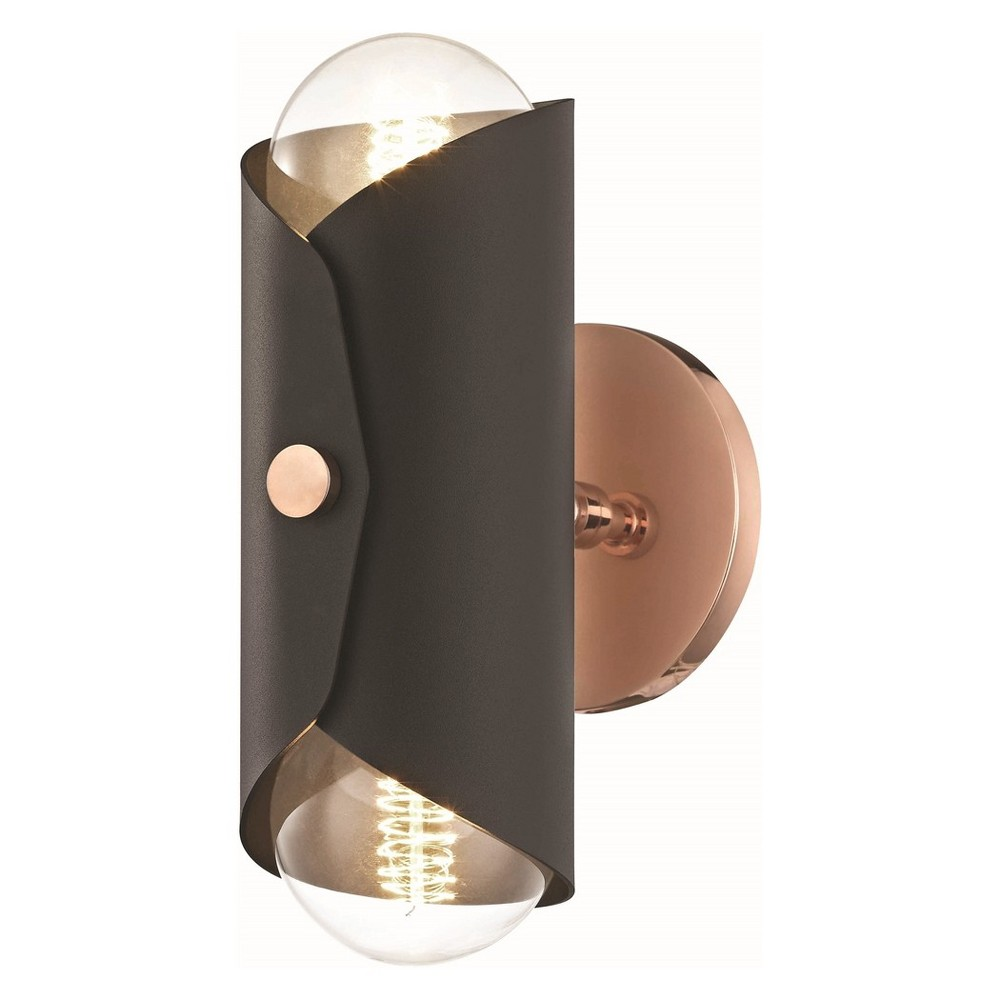 2pc Immo Wall Sconce White Black/ Copper (Brown) - Mitzi by Hudson Valley