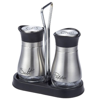 """2-Piece 4oz Salt and Pepper Shakers Dispenser with Stand Set, Stainless Steel with Glass Bottom, 4""""x6""""x2"""", Silver"""
