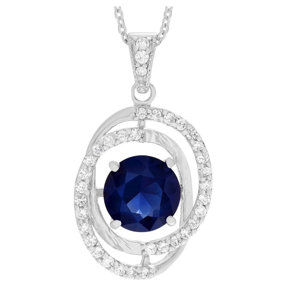 6 9/10 CT. T.W. Round-cut CZ Pave Set Spiral Pendant Necklace in Sterling Silver - Blue, Girl's