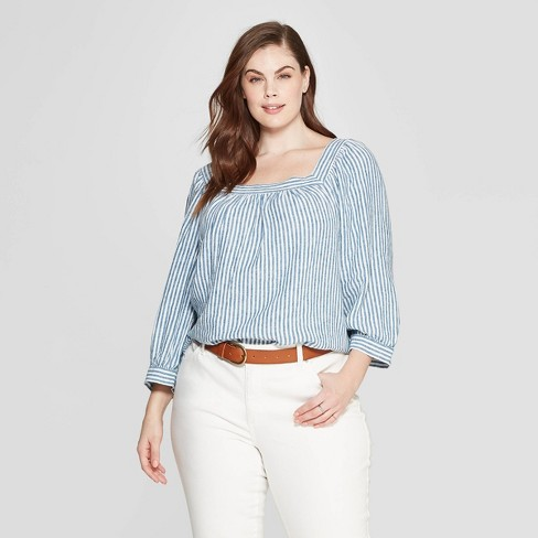 2583f22107c3fa Women's Plus Size Striped Long Sleeve Square Neck Top - Universal Thread™  Blue : Target