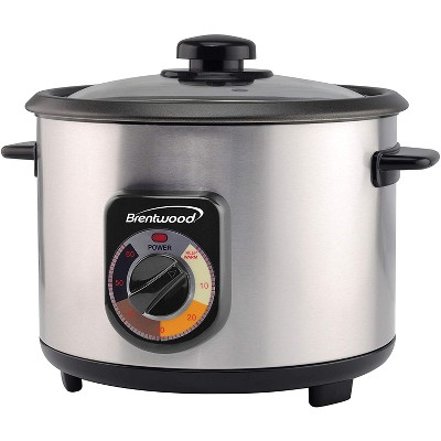 Brentwood TS-1020S 700 Watt 20 Cup Persian Style Crunchy Tahdig Scorched Rice Cooker with 60 Minute Timer, Silver