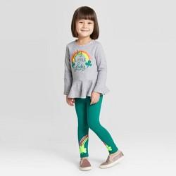 Toddler Girls' Rainbow Top and Bottom Set - Cat & Jack™ Gray/Dark Green