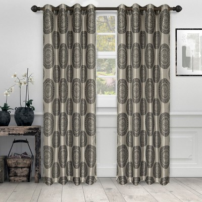 Traditional Medallion Jacquard Room Darkening Curtain 2-Panel Set with Grommet Topper - Blue Nile Mills