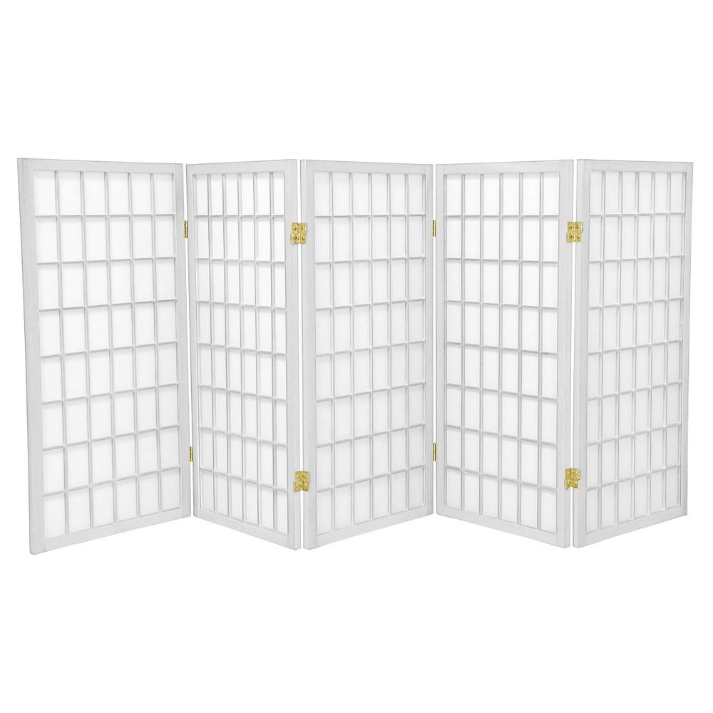 Image of 3 ft. Tall Window Pane Shoji Screen - White (5 Panels) - Oriental Furniture