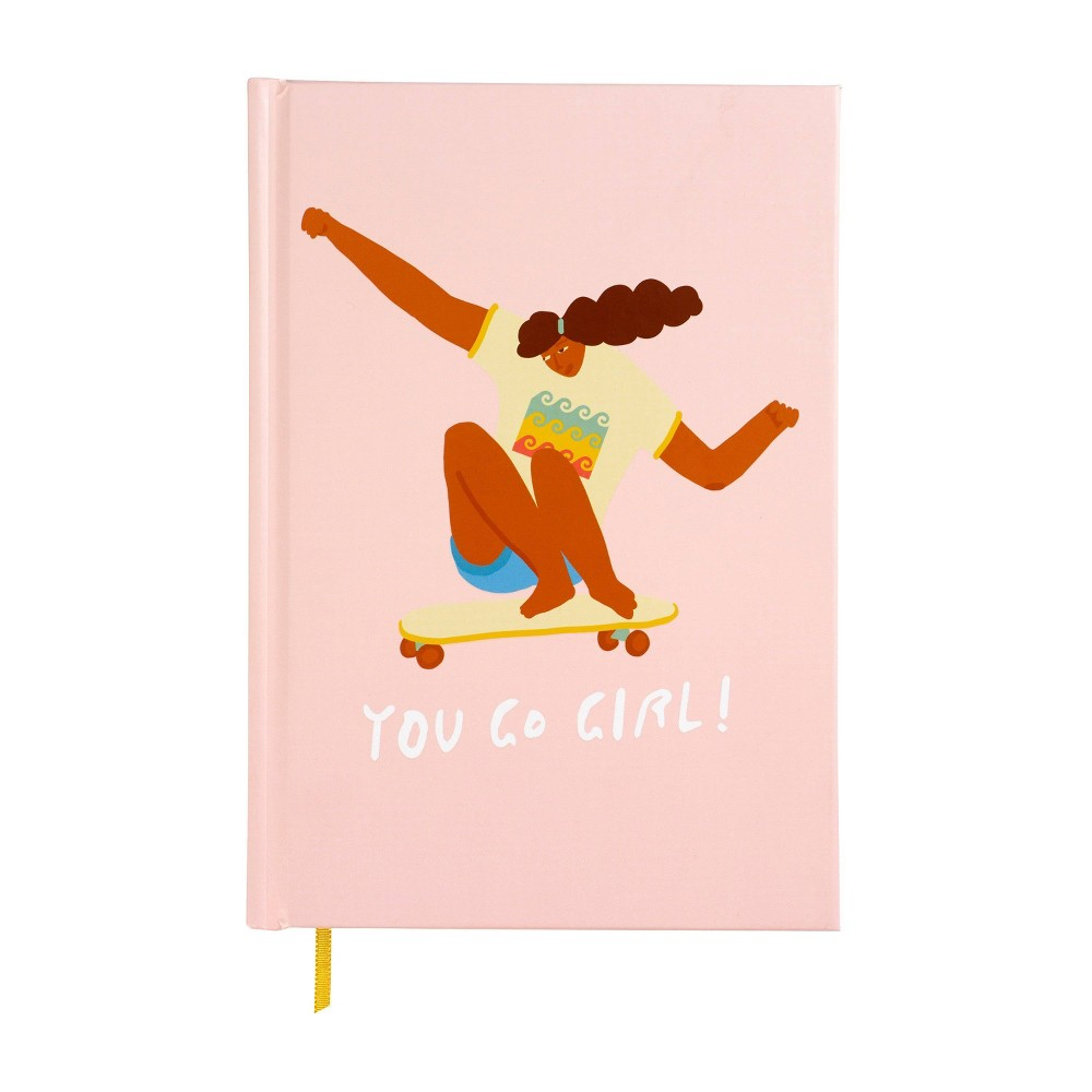 Image of You Go Girl Lined Journal Pink Skateboard - X & O Paper Goods