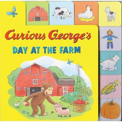 Curious George's Day at the Farm (Tabbed Lift-The-Flap)- by H A Rey (Board Book)