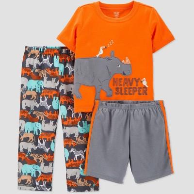 Baby Boys' 3pc 'Rhino' Pajama Set - Just One You® made by carter's Orange 12M