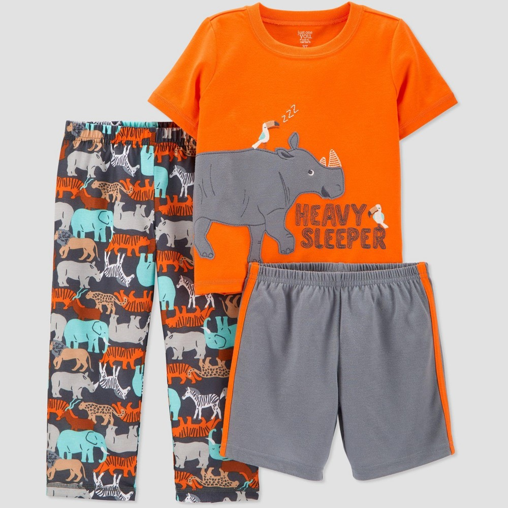 Image of Baby Boys' 3pc 'Rhino' Pajama Set - Just One You made by carter's Orange 12M, Boy's