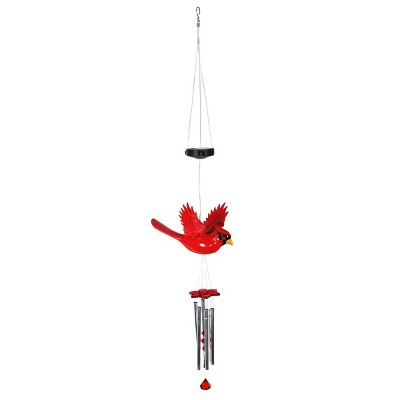 """9.25"""" Plastic and Metal Solar Cardinal Fluttering Wings Wind Chime Red - Exhart"""
