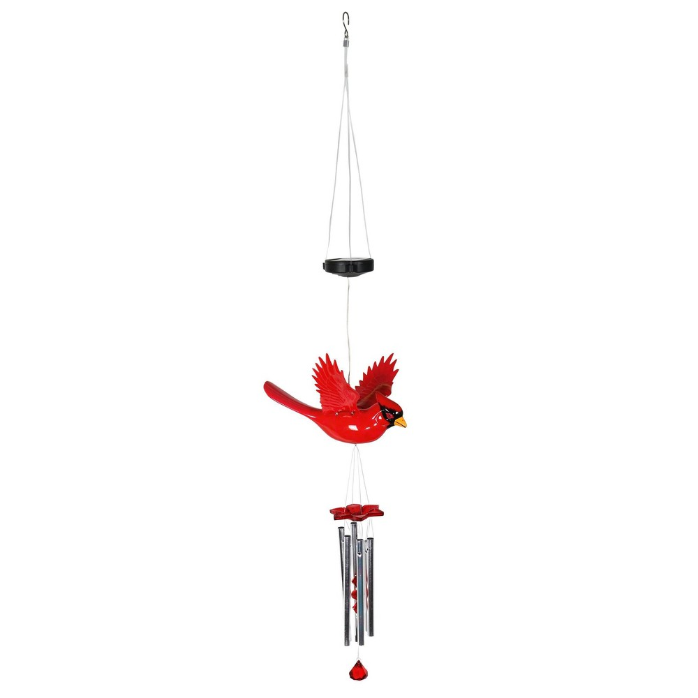 "Coupons 9.25"" Plastic and Metal Solar Cardinal Fluttering Wings Wind Chime Red - Exhart"