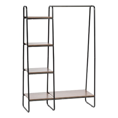 IRIS Metal Garment Rack with Wood Shelves - Black