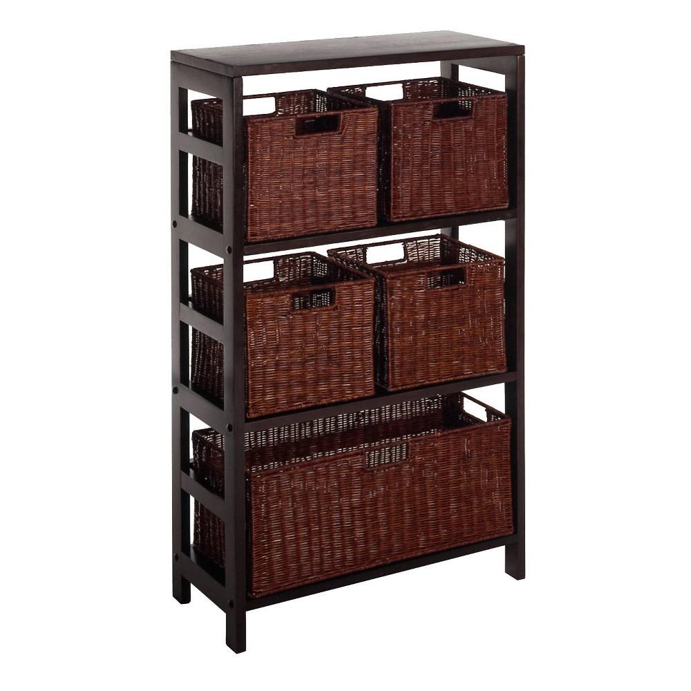 42 34 5pc Wire Baskets With Wide Shelf Espresso Winsome