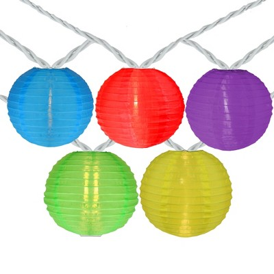 Northlight 10-Count Multi-Color Round Lantern Patio String Light Set, 7.25ft. White Wire
