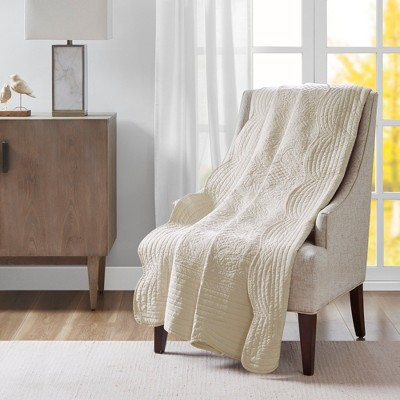 """60""""x72"""" Marino Quilted Throw Blanket with Scallop Edges Ivory"""