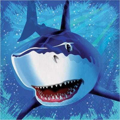 48ct Shark Splash Napkins Blue