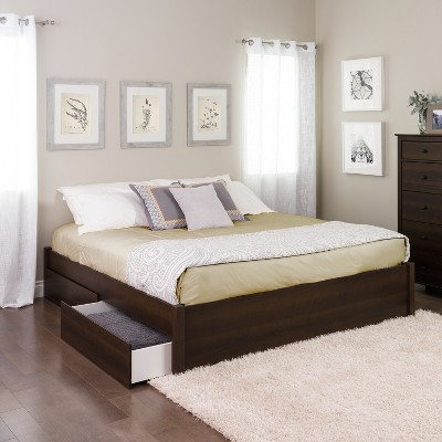 King Select 4-Post Platform Bed with 2 Drawers Espresso Brown - Prepac