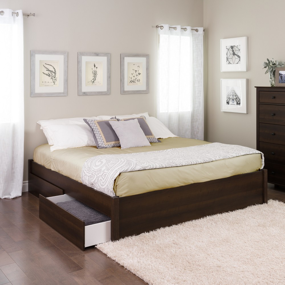 King Select 4-Post Platform Bed with 4 Drawers Espresso Brown - Prepac