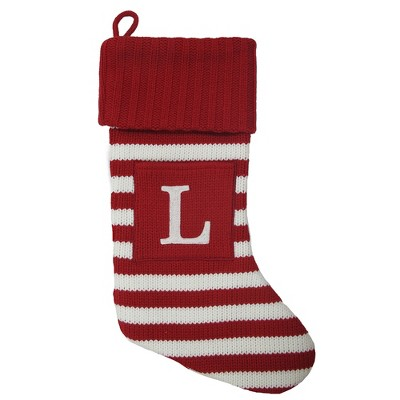 Knit Striped Monogram Christmas Stocking L - Wondershop™