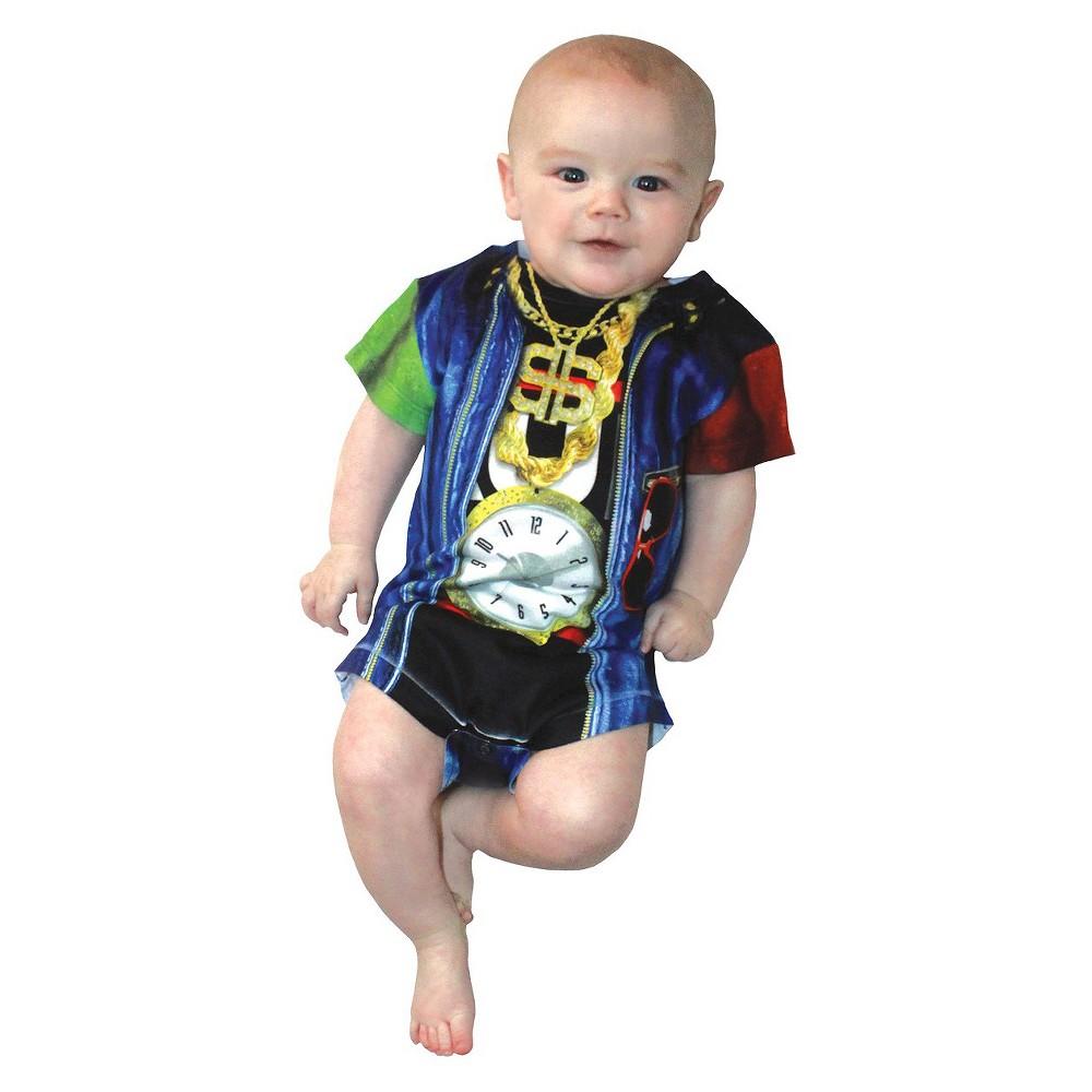 Image of Halloween Baby Kids' Old Skool Rapper Romper Costume - (18-24 Months), Men's, Size: 18-24M, Black