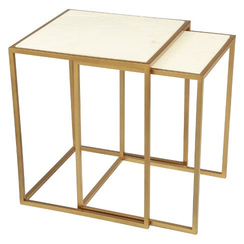 bb2b331805226 Modern Luxe Nesting Tables Faux Marble Brass - ZM Home   Target