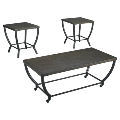 3pc Champori Coffee and End Table Set Grayish Brown - Signature Design by Ashley