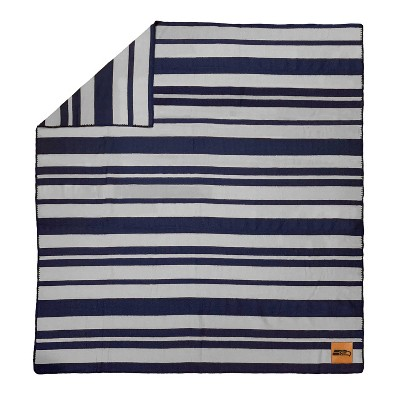 NFL Seattle Seahawks Acrylic Stripe Blanket with Faux Leather Logo Patch