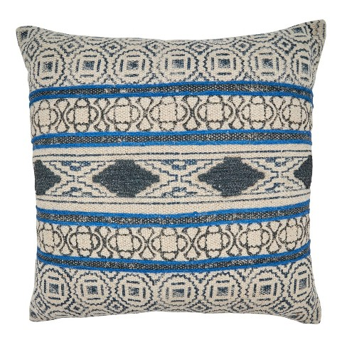 20 X20 Boho Rug Design Cotton Throw Pillow Cover Blue Saro Target
