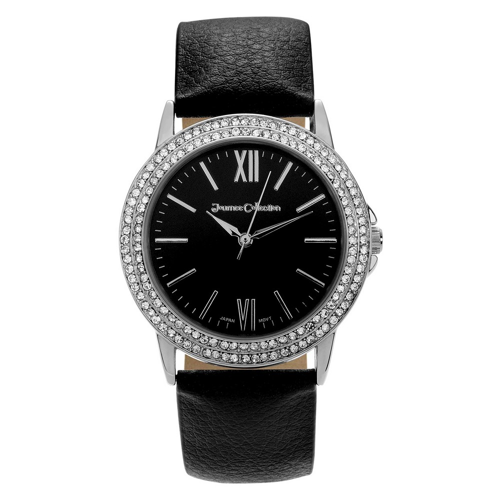 Women's Journee Collection Wristwatch with Nylon/Leather Strap - Black