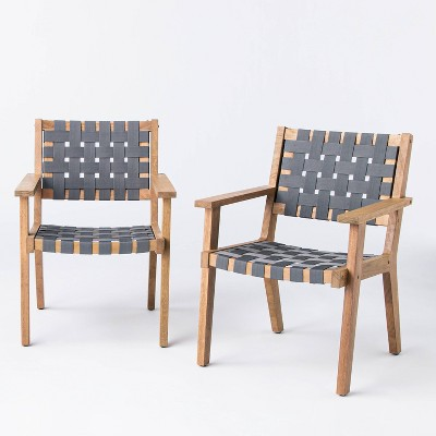 2pk Wood & Strapping Patio Club Chairs - Threshold™ designed with Studio McGee