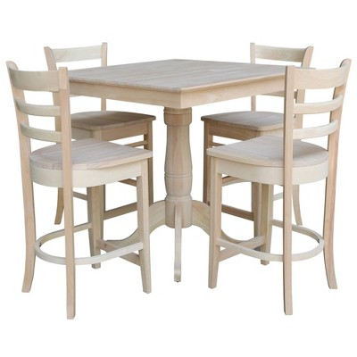 """Set of 5 36""""x6"""" Casia Square Top Pedestal Table with 4 Emily Counter Height Barstools Dining Sets Unfinished - International Concepts"""