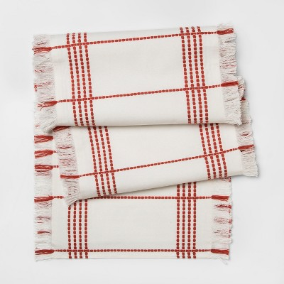 72 x14  Monarch Stitched Runner Off White/Red - Threshold™