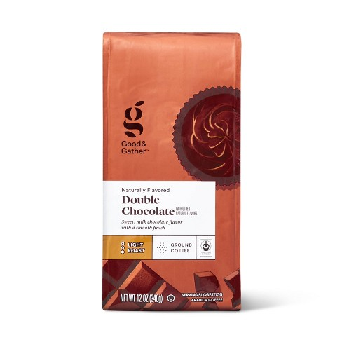 Naturally Flavored Double Chocolate Light Roast Ground Coffee 12oz - Good & Gather™ - image 1 of 3